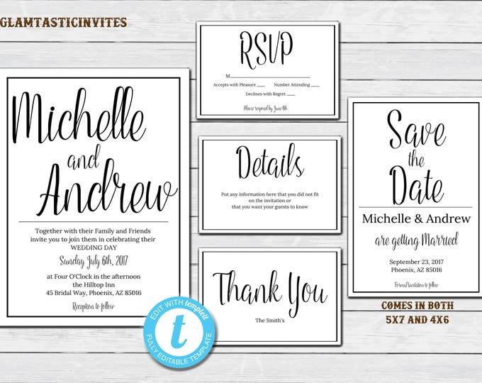 Wedding Invitation Template, INSTANT DOWNLOAD, Printable Wedding Invitation Suite, White Wedding Invitation, Script Wedding Invitation, DIY