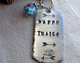 Happy Trails Hand Stamped Dog Tag Silver Necklace |Rustic|Boho|Horse|Gypsy Jewelry