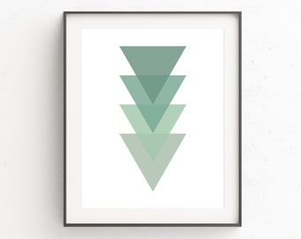 Minimalist Geometric Wall Art, Minimalist Geometric Art, Geometric Prints, Green Wall Prints, Triangle Wall Print, Triangle, Wall Art