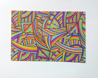 Abstract postcard with lines