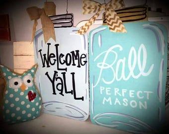 Welcome Y'all Ball Mason Jar Door Hanger