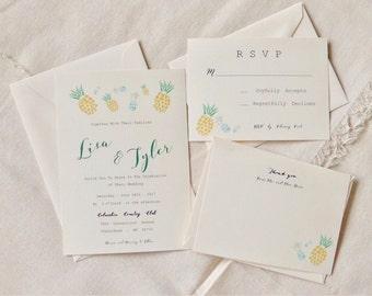 Printable or Printed - Pineapple Invitation - Beach wedding - Tropical Wedding - Tropical Invitation - Beach invitation - tropical colorful