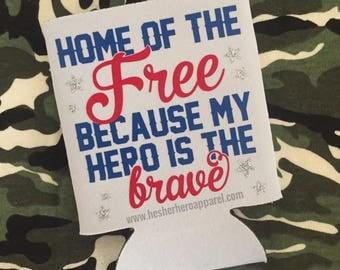 home of the free because of the brave, home of the free, patriotic can cooler, 4th of july accessories, independence day