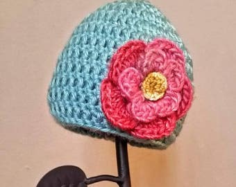 Newborn baby hat, Robin's egg blue with pink and yellow flower