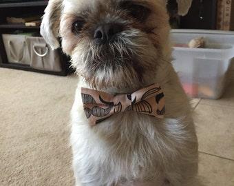 Moustache dog bowtie movember dog bowtie