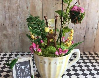 Tea cup fairy garden, miniature fairy garden, fairy garden sign