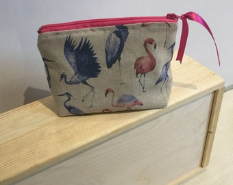 Handmade flamingo/heron print makeup bag, purse, gift, birthday, Mothers Day