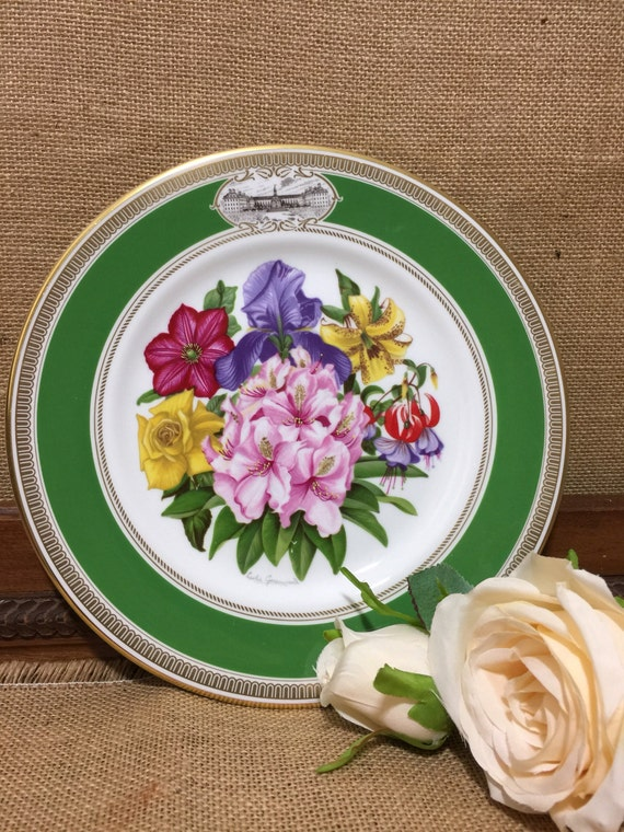 """RHS 1981 Chelsea Flower Show Fine Bone China Plate by ROYAL DOULTON - Premier Issue - 9"""" Decorative Plate - Vintage English Cabinet Plate"""