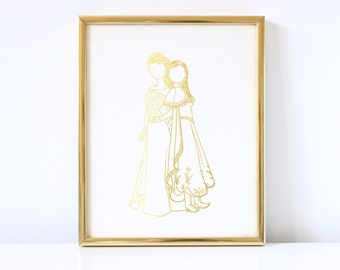 Anna & Elsa Inspired - Disney Inspired - Princess - Frozen Inspired - Real Foil - Faceless - Gold Foil - Hand Drawn - Decor - Foil Print