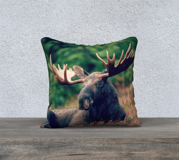 Moose Cushion, Moose Pillow, Forest Animal Cushion, Moose Throw Pillow, Moose Photograph, 18x18 cushion, Spirit Animal Print