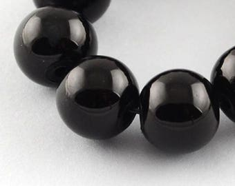 "Black 12mm Round Glass Beads (30"" Strand)"
