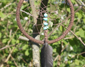 Dreamcatcher-Turquoise and Crow Feather