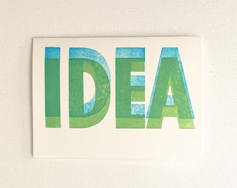 BIG IDEA - Wood Block Print Typography Greeting Card