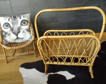 Magazine Rack Bamboo Wicker Rattan / Bamboo Furniture Is Hand Made In  France Vintage / Deco