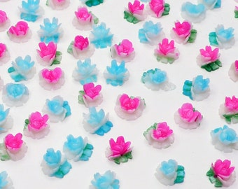 Vintage Tiny Rose Cabochons, blue or pink, acrylic, hand-painted, Japan, 1960s - 7 mm - 12 pcs - C74