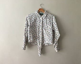 Vintage 1990s Long Sleeved Cropped  Floral Blouse