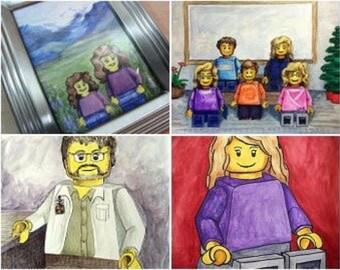 Custom Family Portrait | Family Personalized Wall Art | Custom Portrait Illustration | LEGO® Portrait | Illustrated Gift Idea | LEGO® gifts