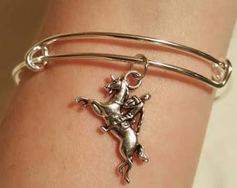 Silver knight bangle bracelet from BB Easton's novel, SKIN