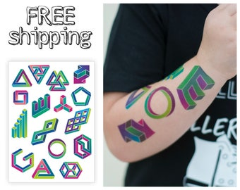 Geometry temporary tattoos set. Abstract awesome tatts with visual tricks. TA040.