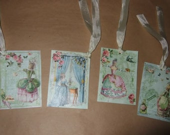 FOUR Vintage Marie Antoinette Hang Tags / Gift Tags