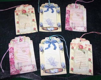 SIX Vintage Scrapbook Journal Gift Tags Primitive Hang tags