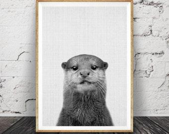 Otter Print, Nursery Wall Art Decor, Black and White Photo, Minimalist, Nautical Sea Animal, Marine Life, Printable Poster, Digital Download