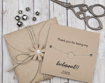 Thank you bridesmaid - eternity bracelets - gifts under 20 - maid of honor gifts - gifts for her - personalised gifts - sterling silver