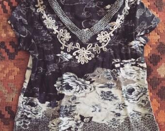 SUPER SALE Hippie flower embroidered shirt size small medium 90s boho shirt