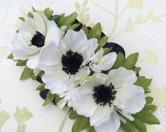 Handmade Vintage Style White Anemone Hair Barrette