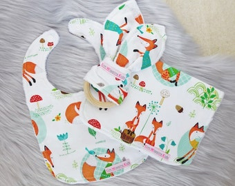 Baby Set -Baby Bib, Burp Cloth and Bunny Ear, Baby Boy Gift, Baby Boy, Baby Shower Gift, New Mum - Fox