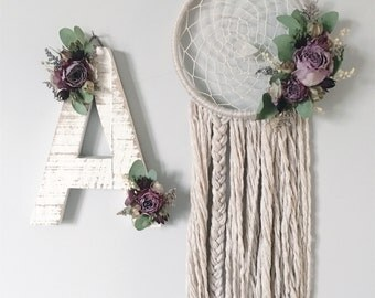 Wildflower Wood Letter and Matching Dreamcatcher | Boho Decor | Dried Flowers | Nursery Letter | Wall Letter | Bohemian | Wallhanging |