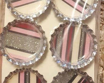 Pink and Red Striped Bottle Cap Magnets