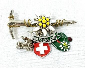 Switzerland Enamel Brooch Pin with Swiss Charms
