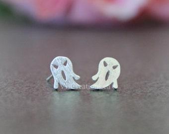 Ghost Earrings - Halloween Jewelry -  Dainty Earrings - Studs Earrings - Stainless Steel - Silver Earrings - Gift for her - Friend gift