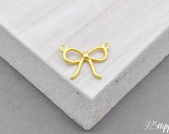 925 Sterling Silver Bow Charm Gold plated, Bow Pedant, Silver Bow, Silver Pedant, Bracelet Bow Charm, 925 Silver Bow, Necklace Bow Charm,