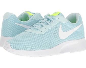 ... Custom Bling Womens Nike Tanjun Glacier Blue, White Swarovski Crystal  Bling Sneakers, Running Shoes ...