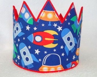 Space Crown. Birthday Crown, Boys Birthday Hat, Felt Birthday Crown, Kids Crown, Rocket Ship Birthday Crown, Birthday Party Hat, Kids Crown