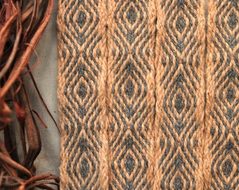 Plant dyed tablet woven band, larp belt, medieval clothing, dark grey, peach - orange,  viking garb, naturally dyed wool, handwoven trim