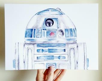 R2D2 Watercolor Print