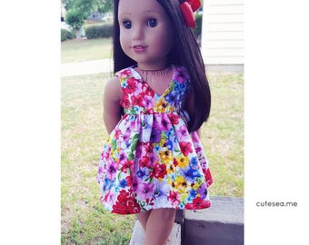 18 inch doll clothing watercolor luau dress