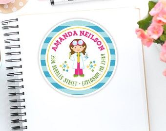 Personalized Girl Scientist Address Label Stickers, Science Girl, Custom Address Labels for Kids, Girls School Address Label Stickers