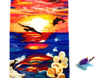 Tropical Pani Wool Painting, Needle Felted Art.