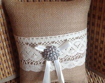 Burlap Ring Bearer pillow, Burlap and Lace Pillow-