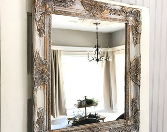Marvelous Shabby Chic Wall Mirror Bathroom Mirror White Gold Distressed Vanity Mirror  French Country Ornate Mirror Custom