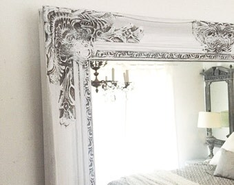 Gray and White Distressed Bathroom Mirror