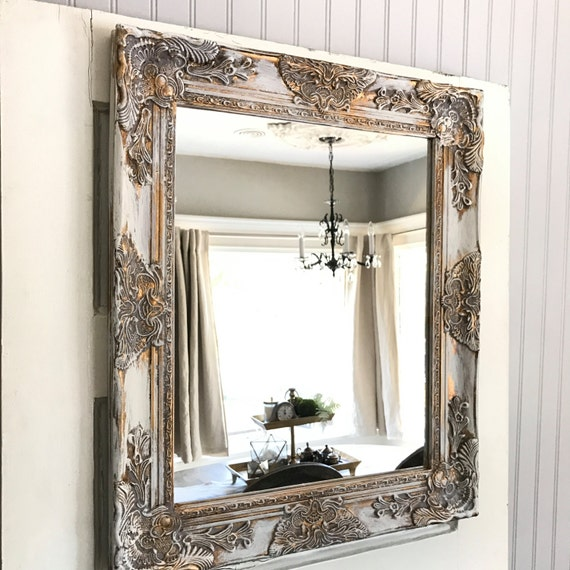 shabby chic wall mirror bathroom mirror white gold distressed 20338