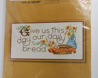 Sunset Stitchery Crewel Embroidery Kit, Give Us This Day Our Daily Bread  2647, Fits 10 x 20 inch frame, NOS, Prayer Piece, The Lords Prayer