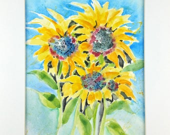 Sunflowers, Watercolor Sunflowers, Abstract Watercolor, Original Art, Original Watercolor