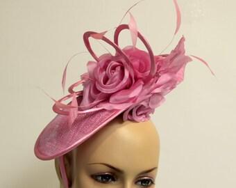 hot pink sinamay Fascinator, Kate Middleton Style Fascinator, Kentucky Derby Fascinator, English Royal Hat,Wedding Hat,Formal,Dressy,Church