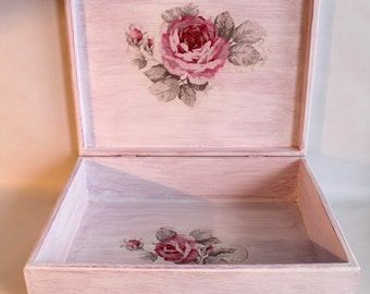 Wooden box, decoupage box, mothers day, gifts for her, shabby chic, storage box, keepsake box, vintage decor, home decor, gifts ideas, boxes